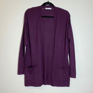 Sweaters - Plum Fine Knit Open Front Cardigan Sweater